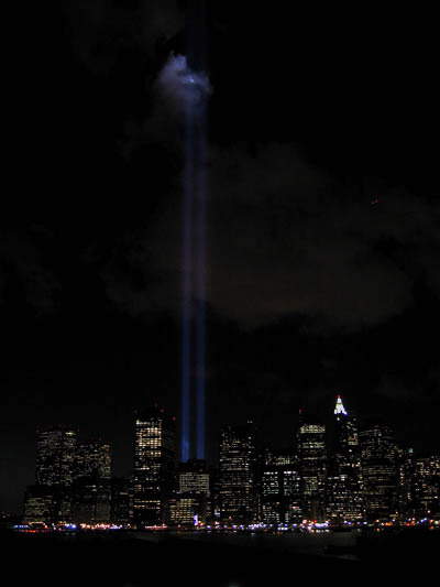 the 9-11 memorial lights from the bklyn promenade taken by r. elkins on 9-11-06